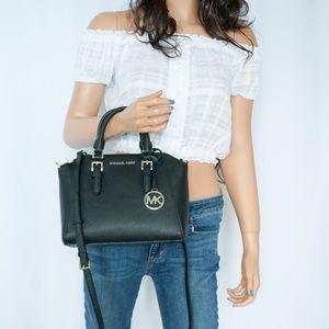 Michael Kors Ciara M Messenger Leather Bag Black